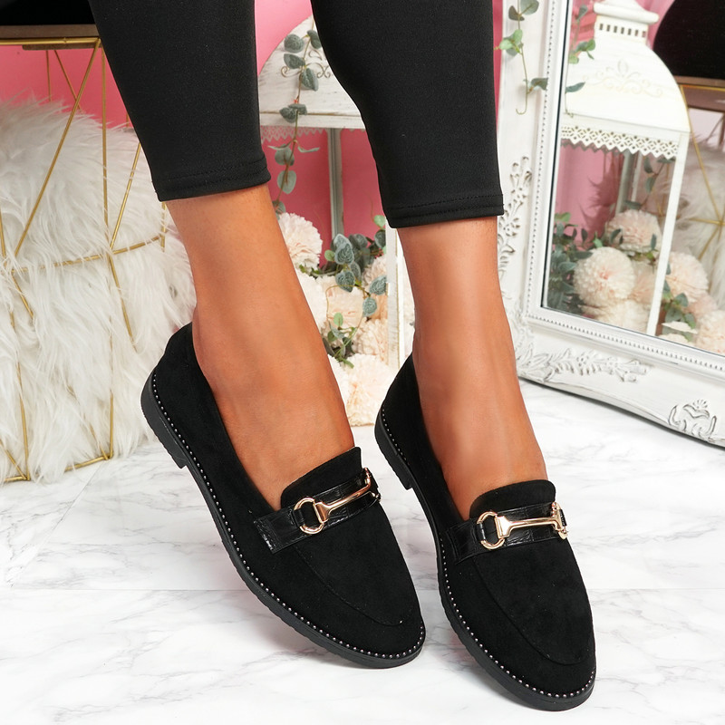 Sise Black Studded Ballerinas