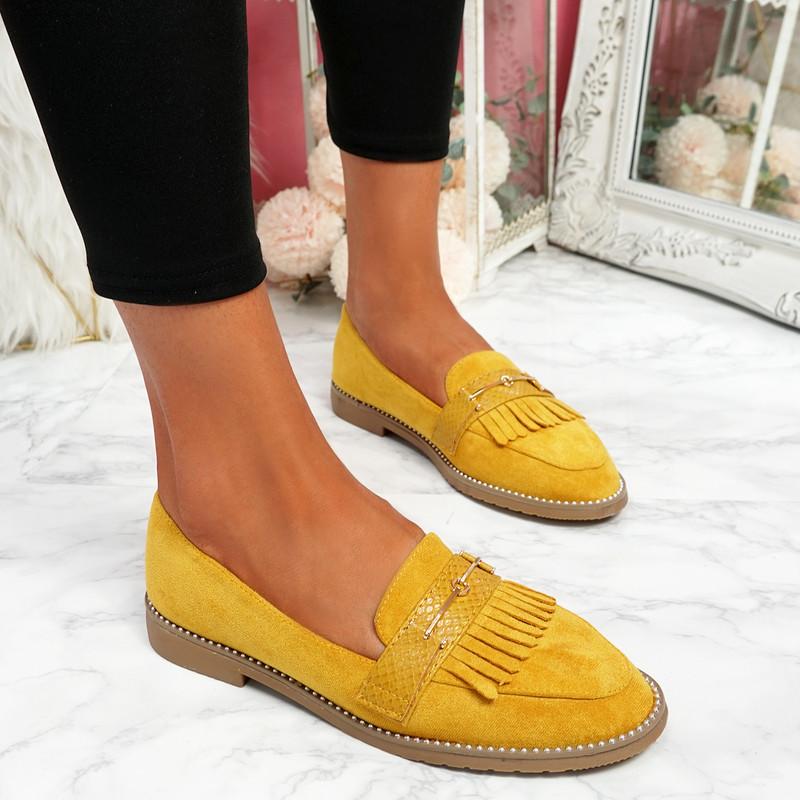 Veny Yellow Fringe Ballerinas