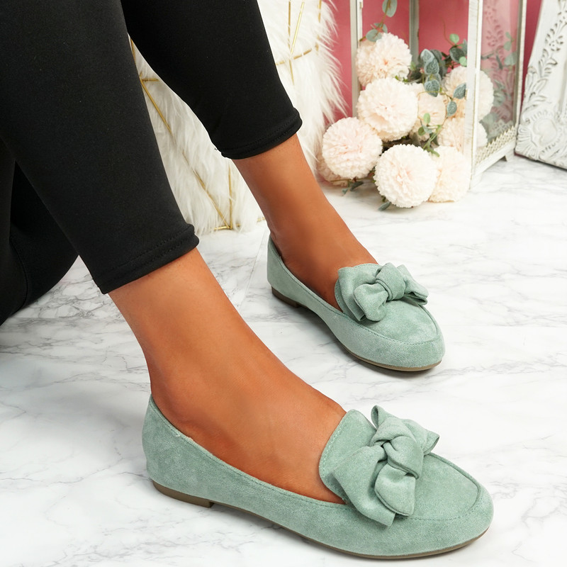 Vinny Green Bow Flat Ballerinas