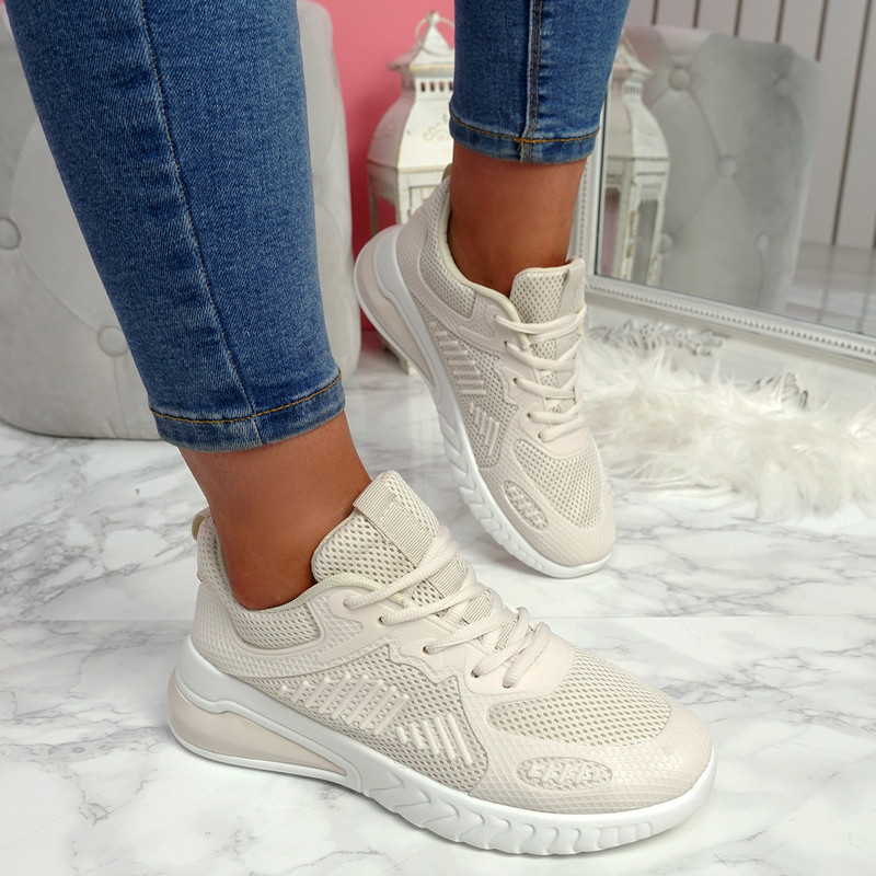 Bymma Beige Lace Up Trainers