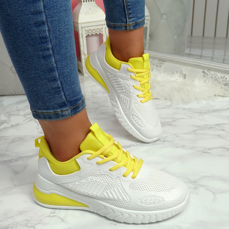 Bymma Yellow Lace Up Trainers