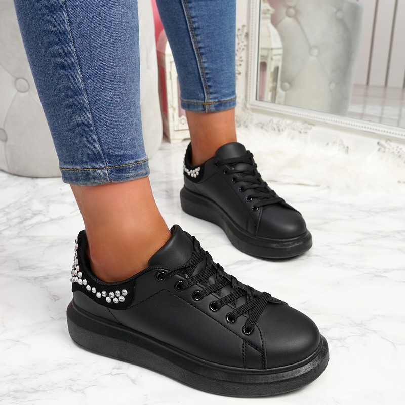 Mika All Black Studded Trainers