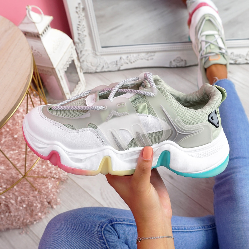 Lizza Green Rainbow Sole Chunky Trainers