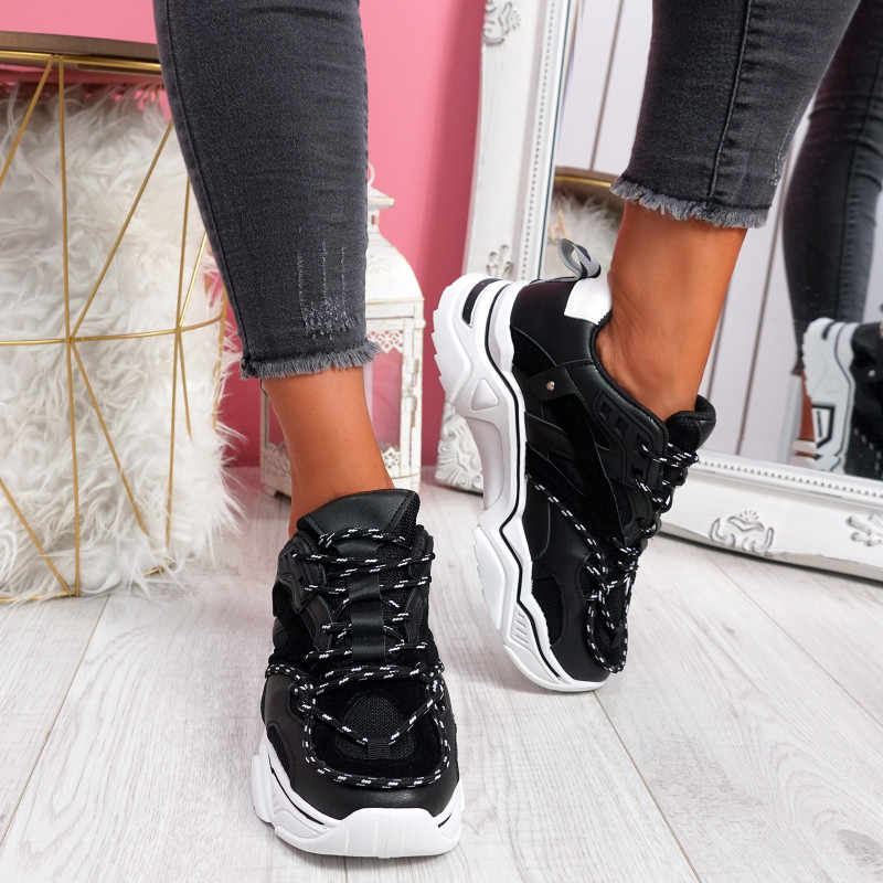 Lotte Black Chunky Trainers