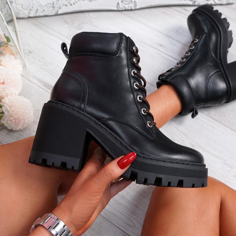Kofe Black Block Heel Biker Ankle Boots