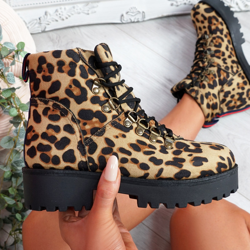 Hidda Leopard Lace Up Ankle Boots