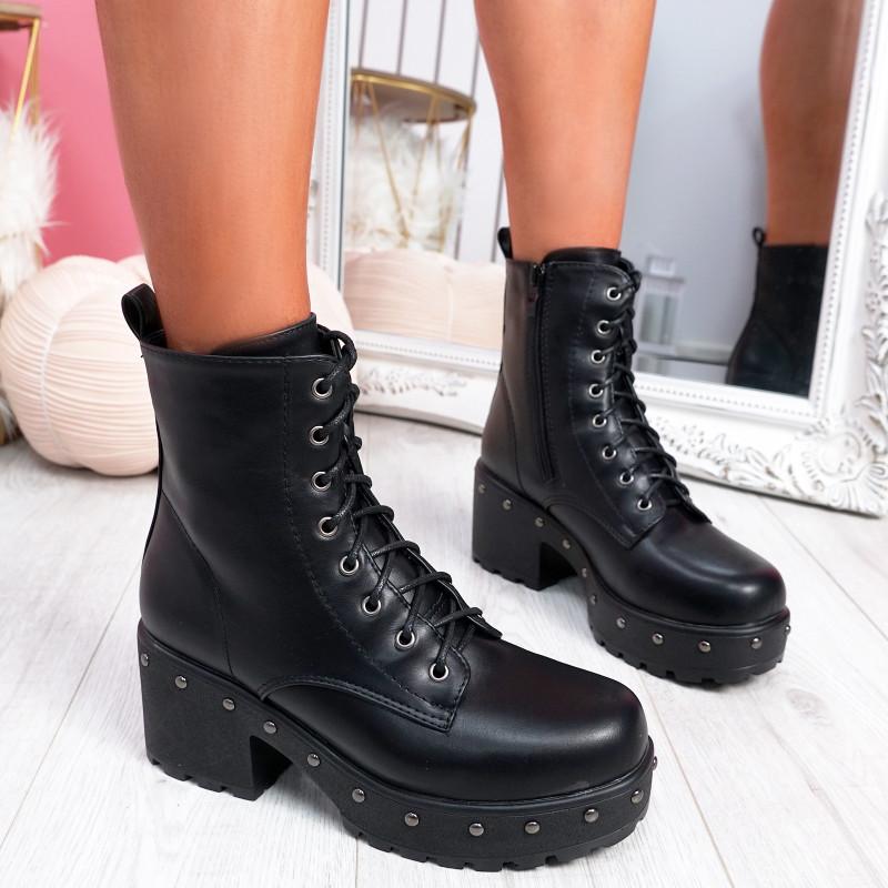 Dyzze Black Pu Studded Ankle Boots