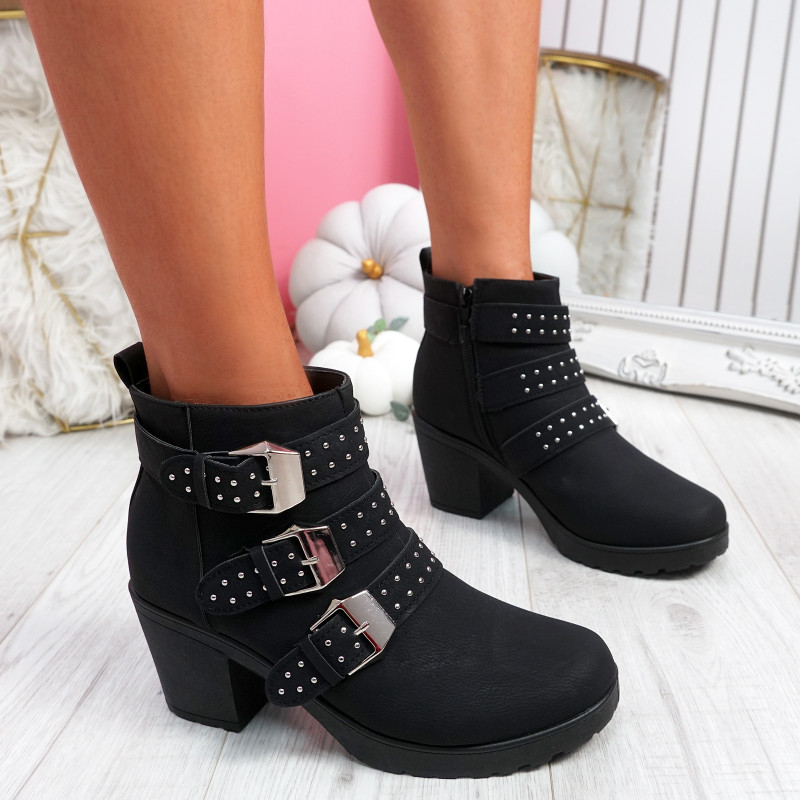 Dacy Black Block Heel Ankle Boots