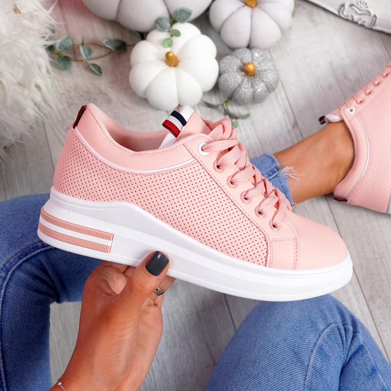 Huvy Pink Lace Up Trainers