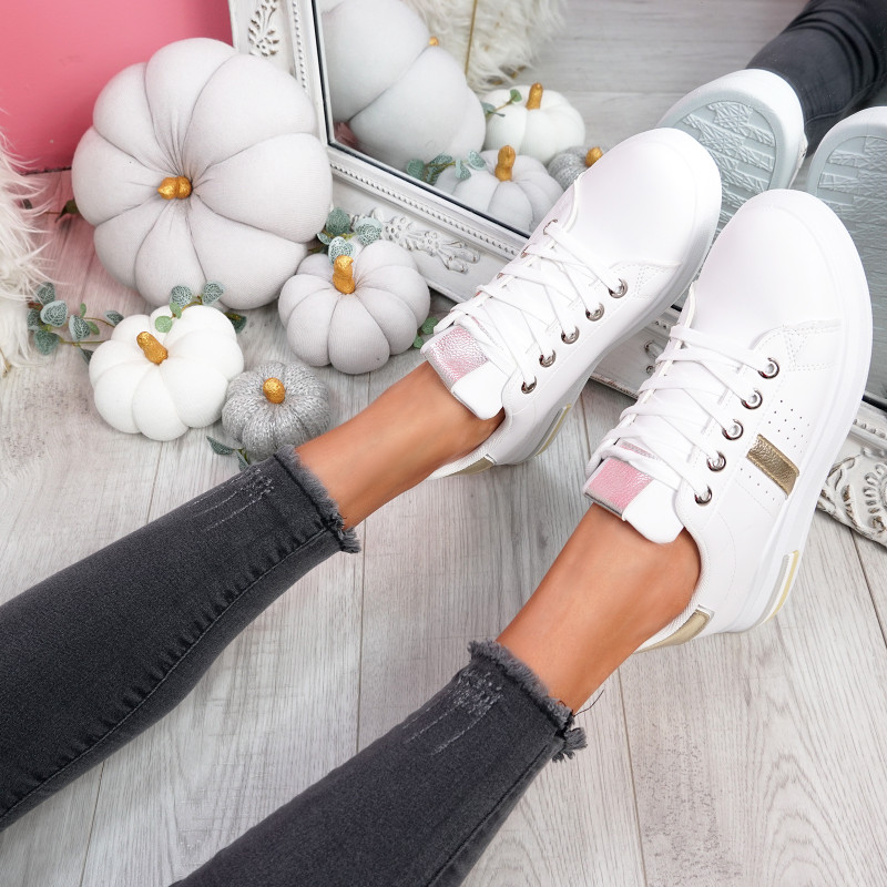 Dibby White Silver Lace Up Trainers