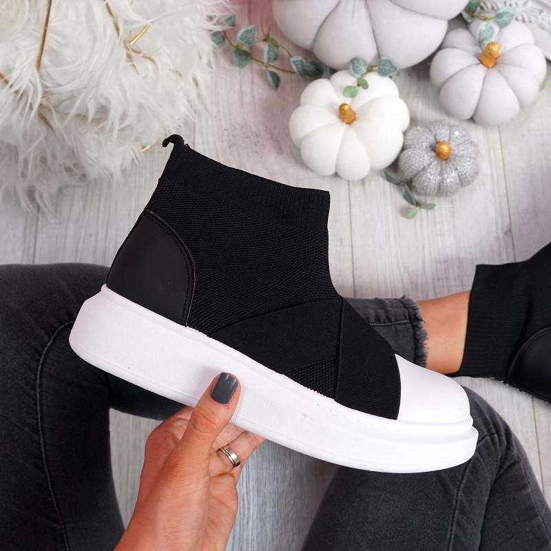 Zenny Black Sock Platform Trainers