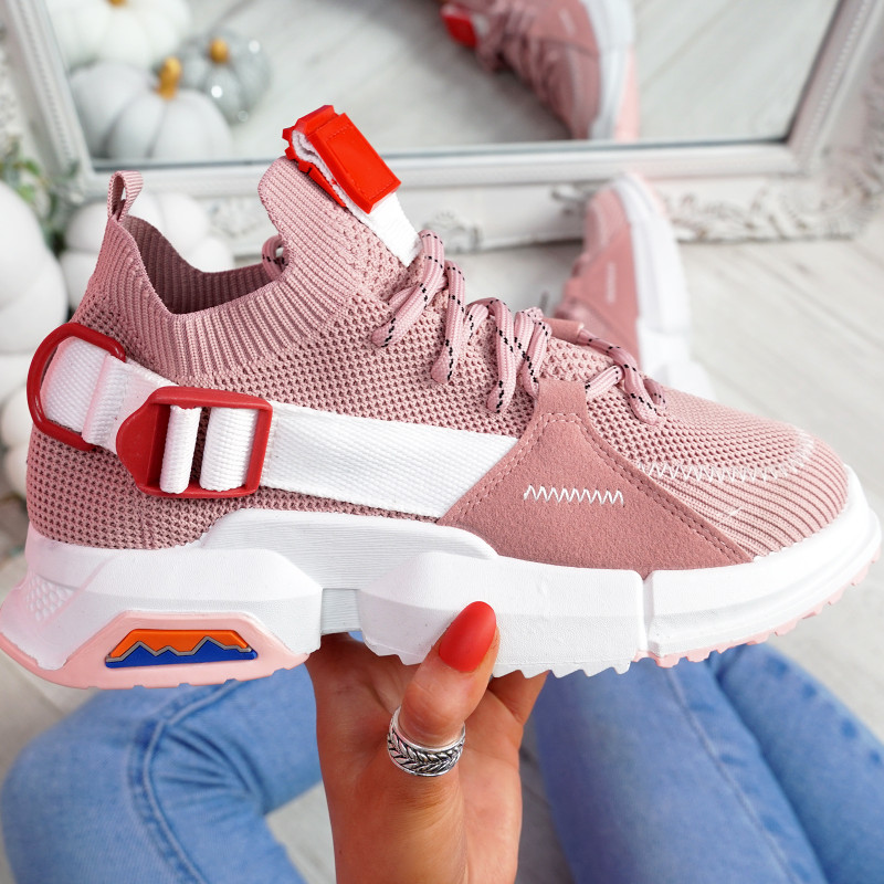 Loppo Pink Knit Chunky Sneakers