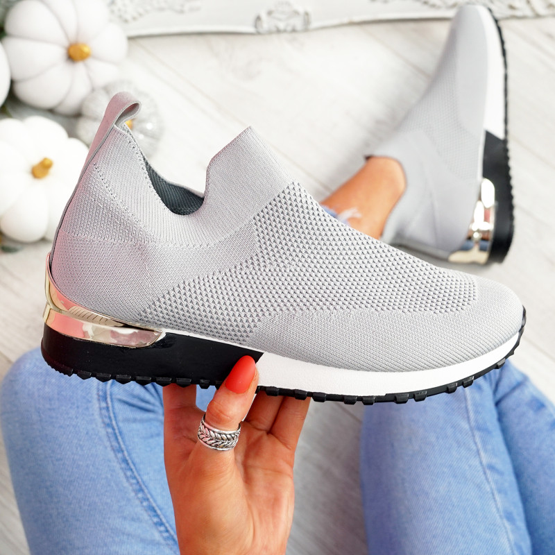 Ritty Grey Knit Sport Trainers