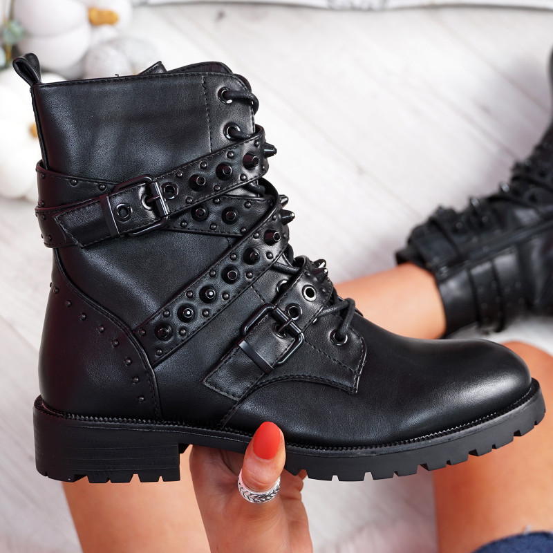 Bavy Black with Black Studs Ankle Boots