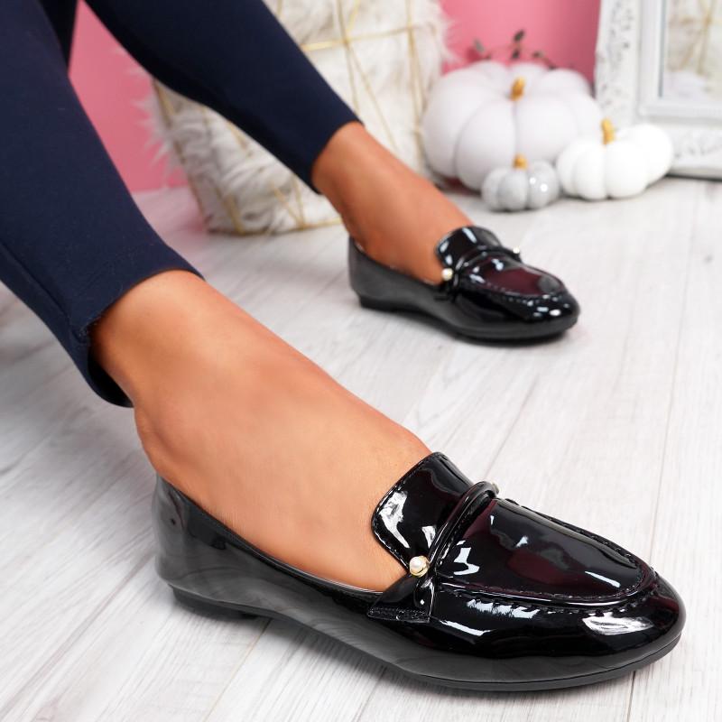 Revvy Black Patent Flat Ballerinas