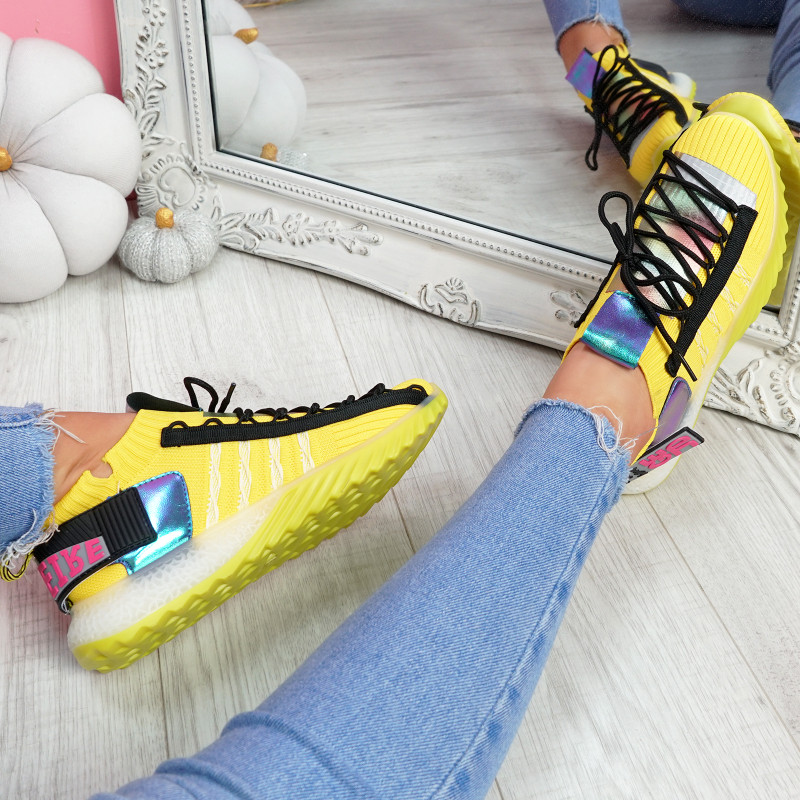Jozzy Yellow Knit Sneakers