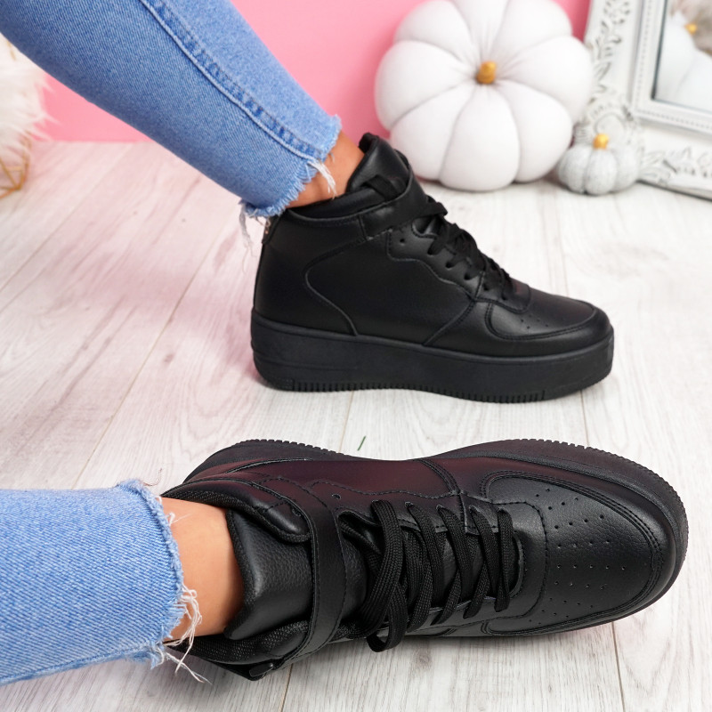 Loke All Black Platform Trainers