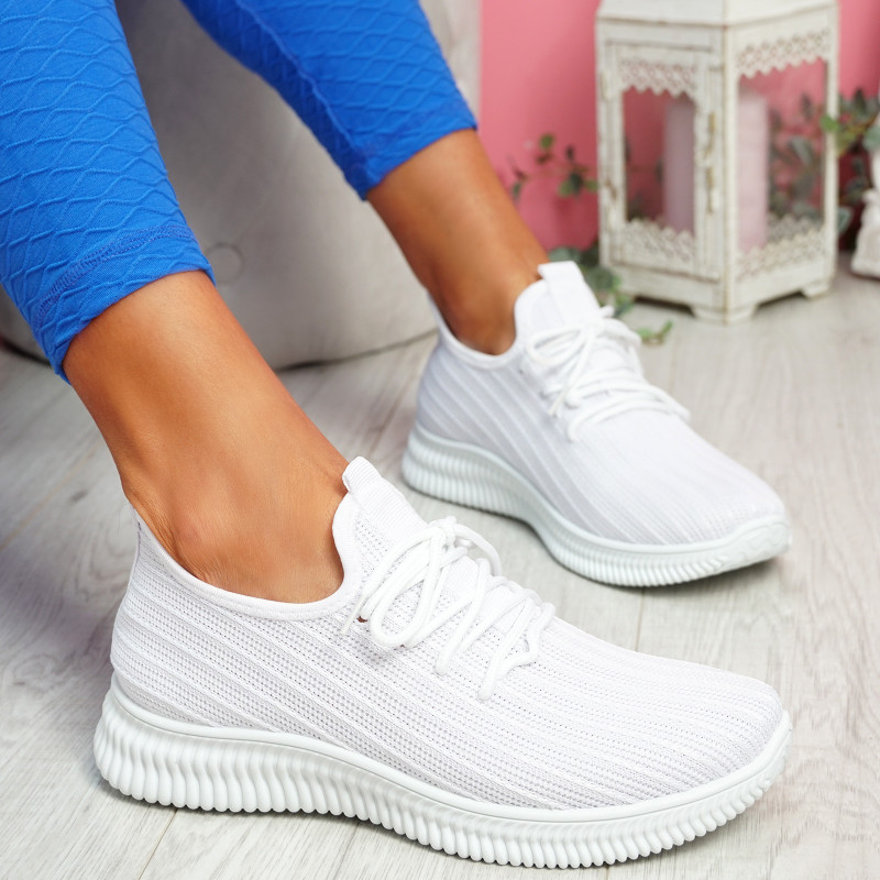 Mizzy White Knit Sneakers