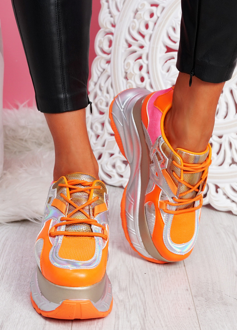 Posty Orange Chunky Flatform Trainers