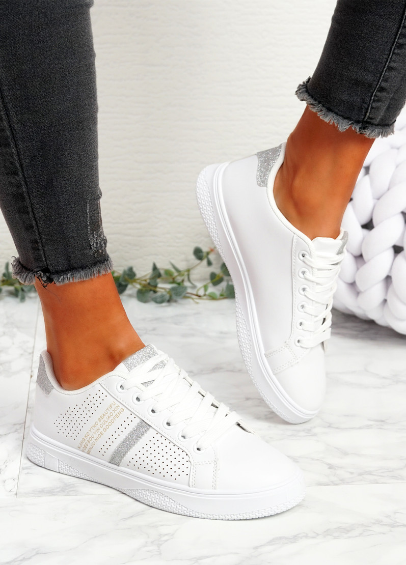 Pobe Silver Lace Up Trainers