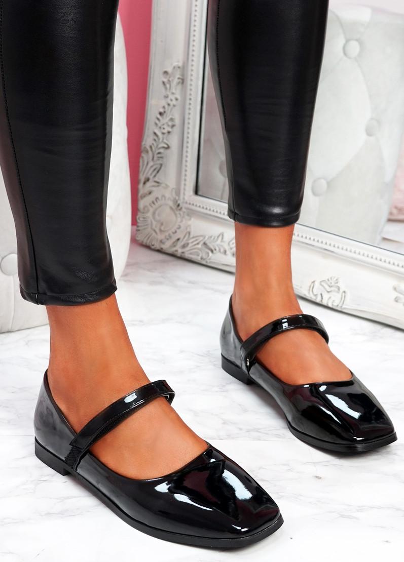 Zinga Black Patent Flat Ballerinas