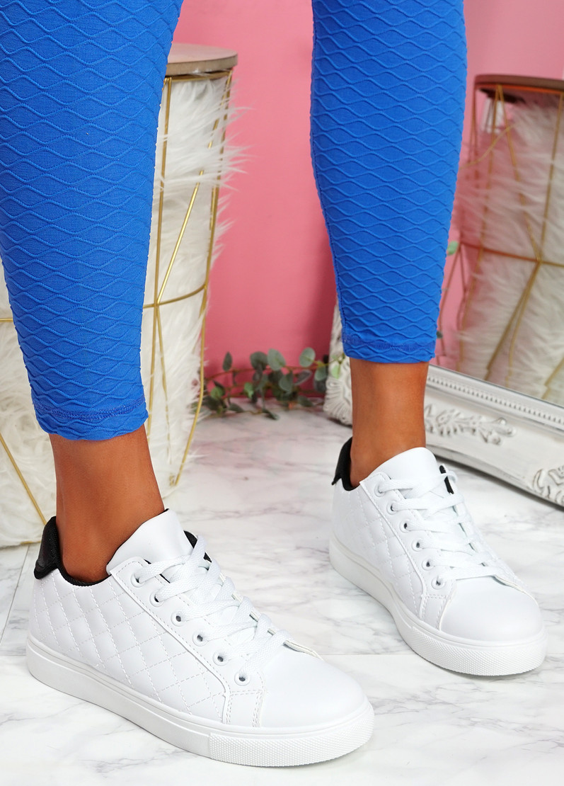 Kety White Black Lace Up Trainers