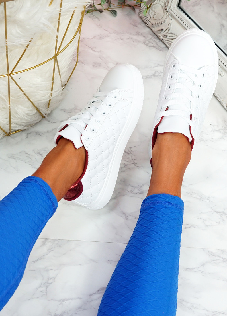 Kety White Red Lace Up Trainers