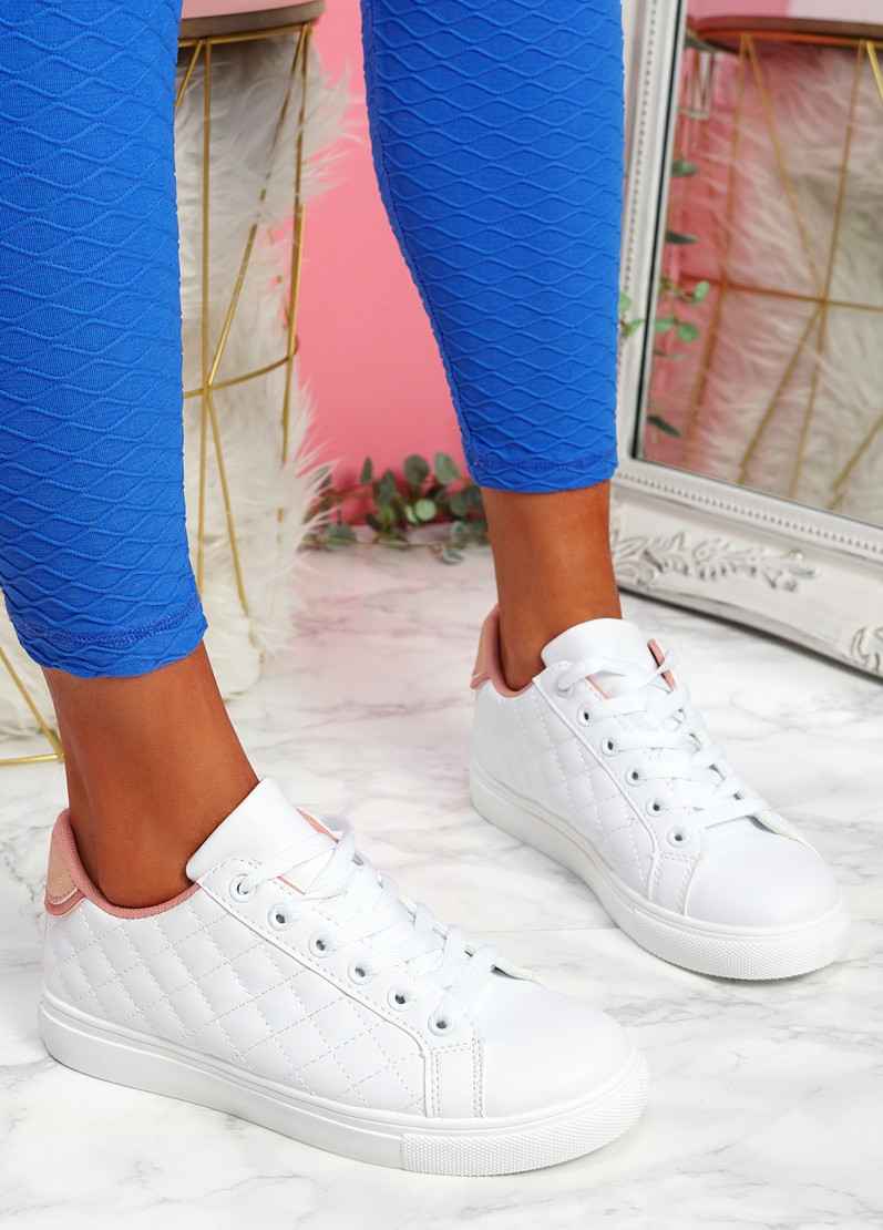 Kety White Pink Lace Up Trainers