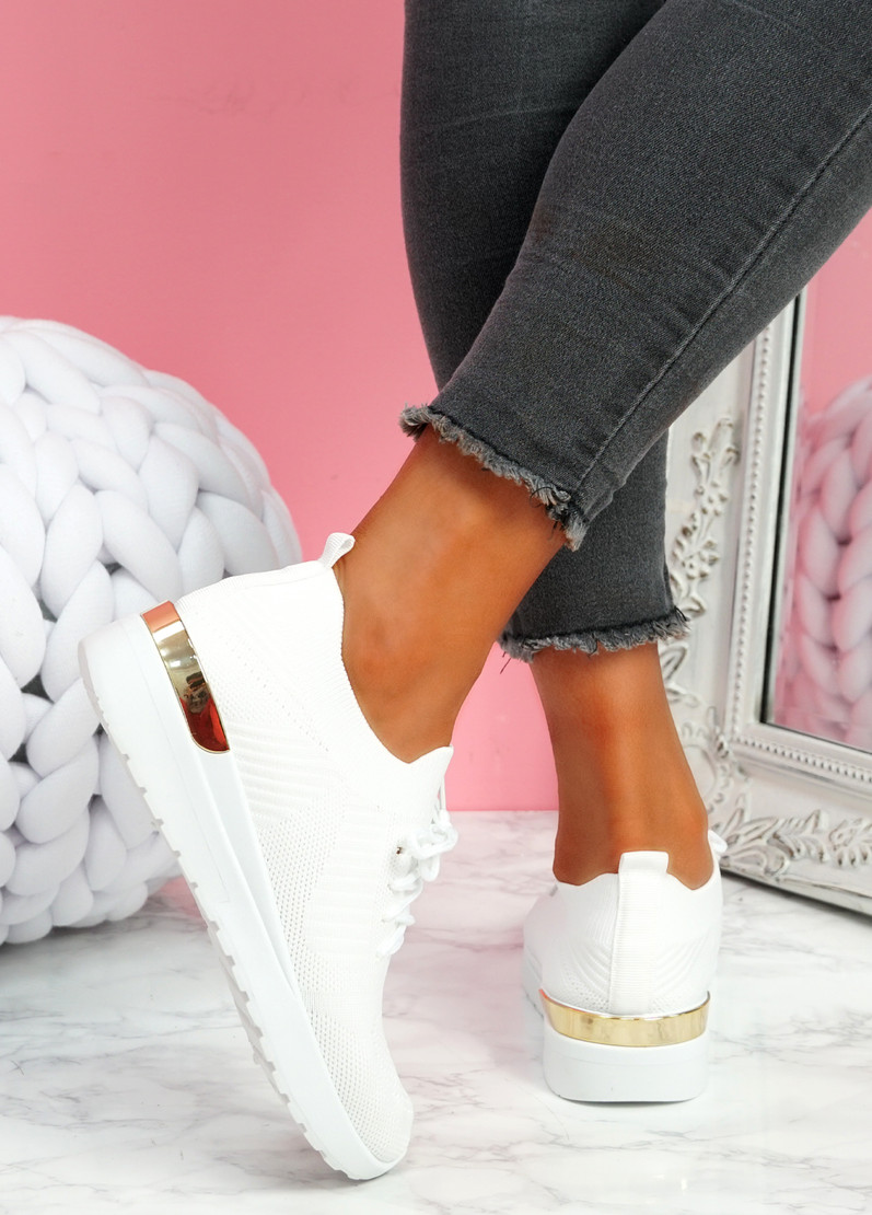 Scopo White Knit Lace Sneakers