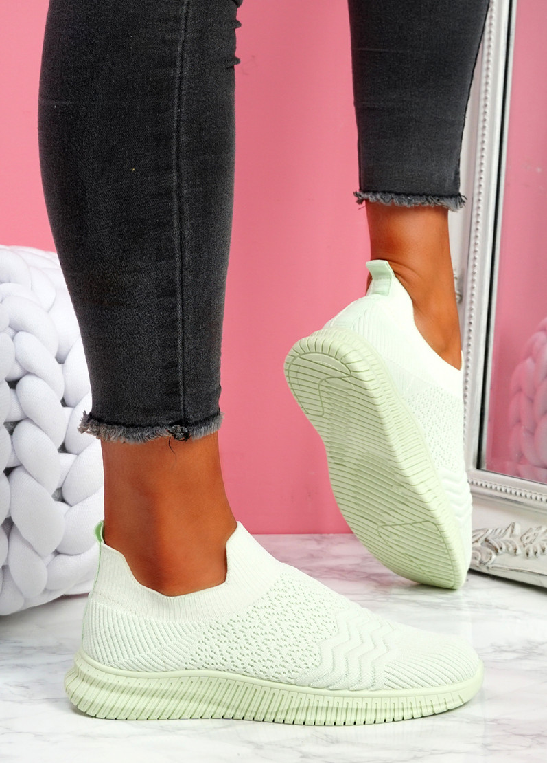 Mabba Light Green Knit Running Trainers