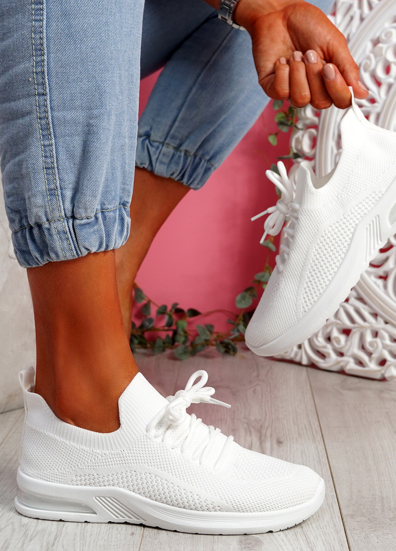 Joby White Lace Knit Trainers