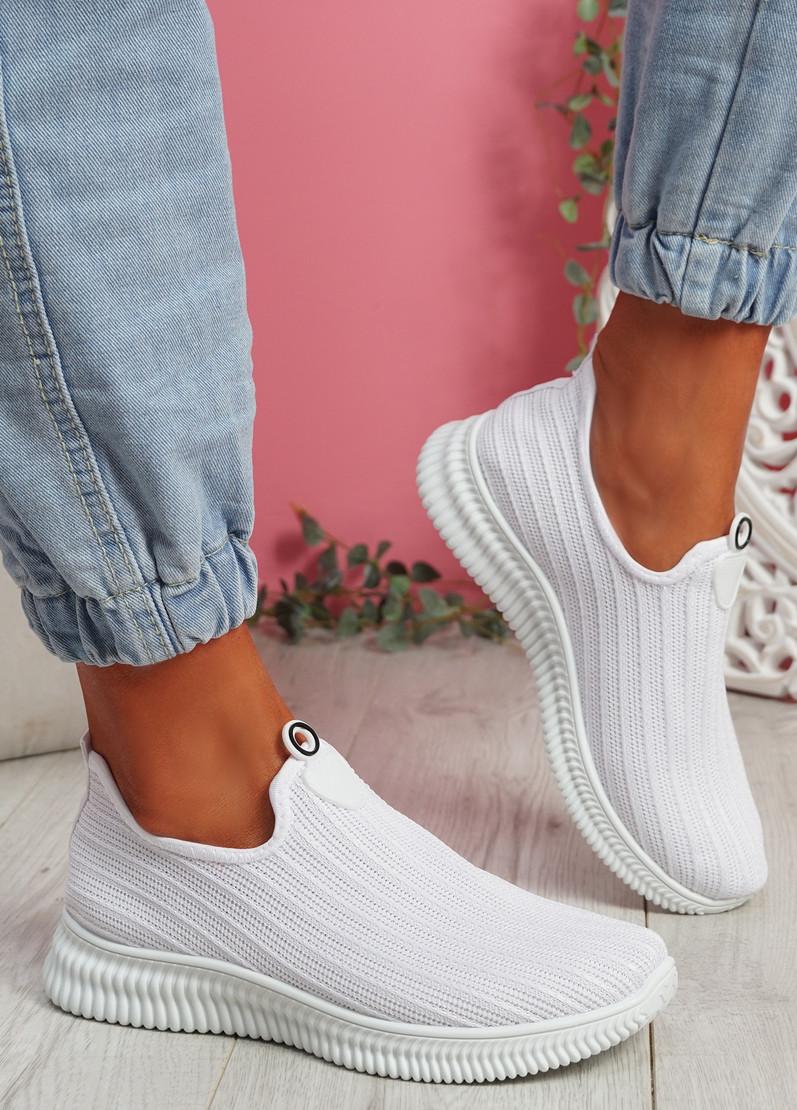 Stonna White Knit Slip On Sneakers