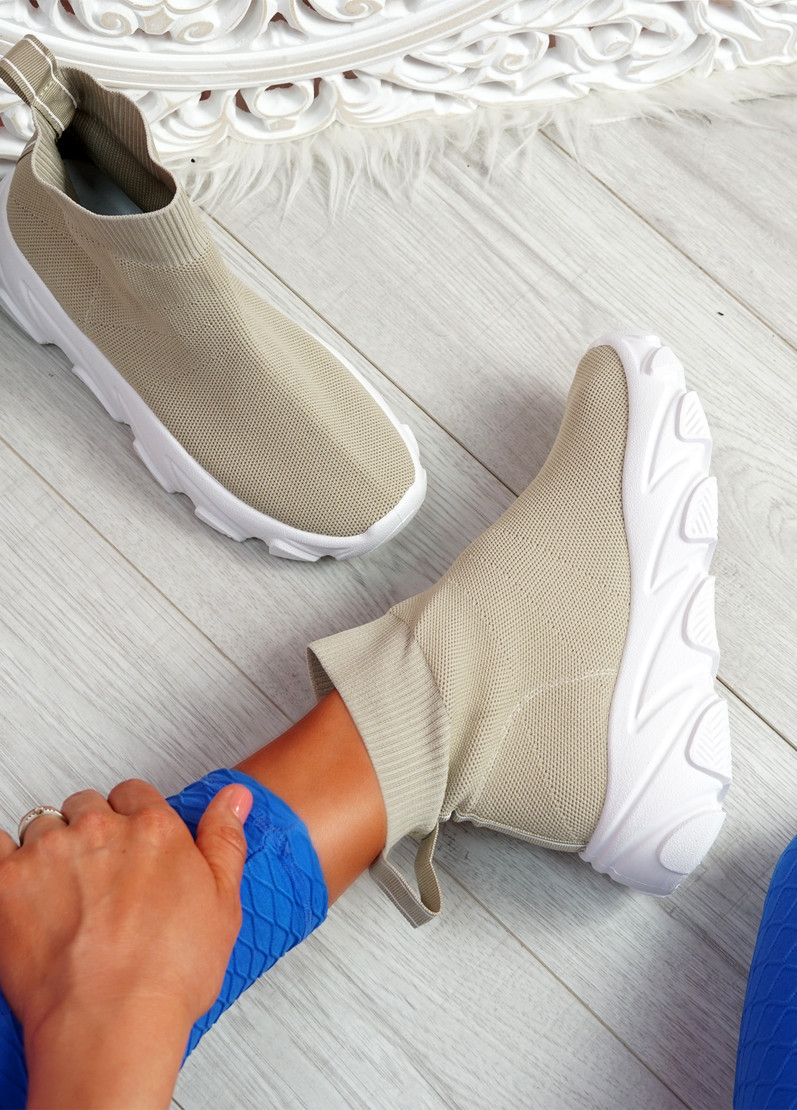 Roka Beige Sock Chunky Sneakers