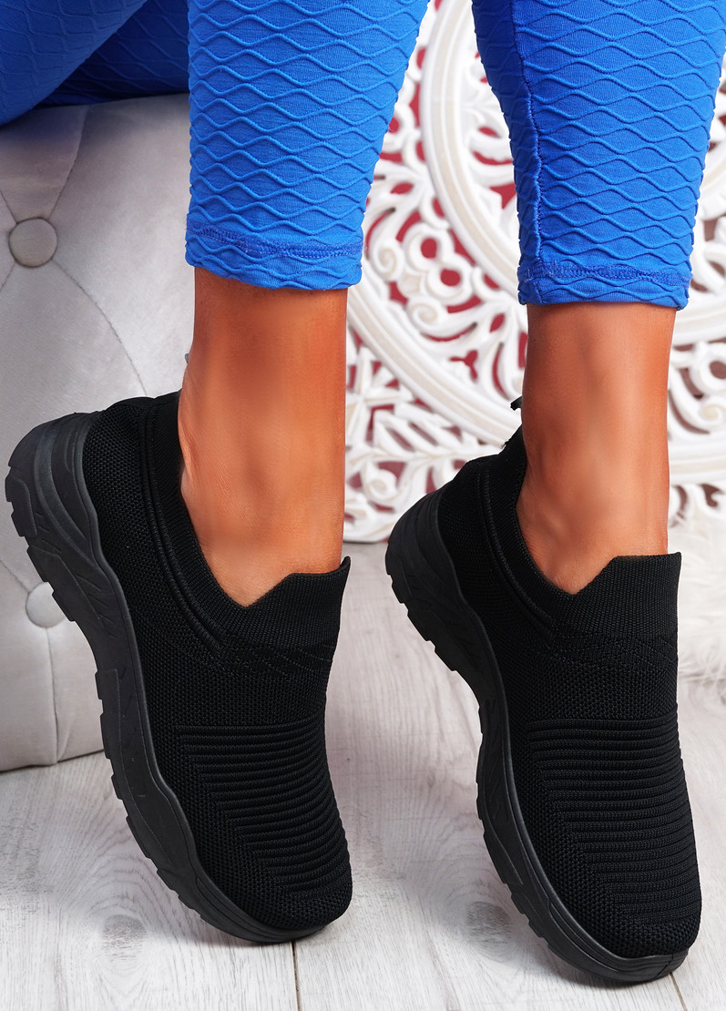 Noxy All Black Slip On Knit Trainers