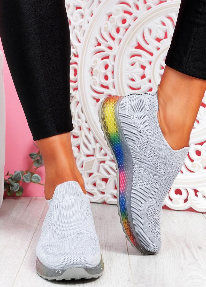 Tissy Grey Slip On Rainbow Trainers