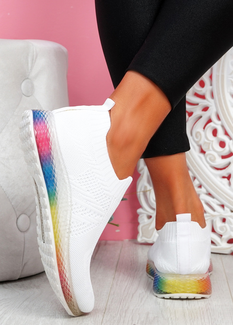 Tissy White Slip On Rainbow Trainers