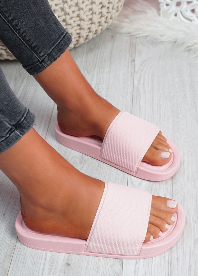Soha Pink Flat Sandals Sliders