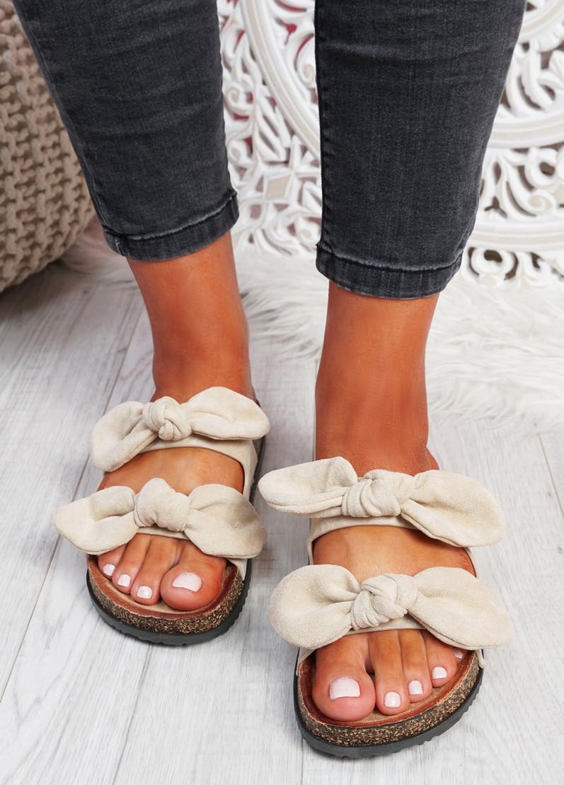 Hogy Beige Bow Flat Sandals