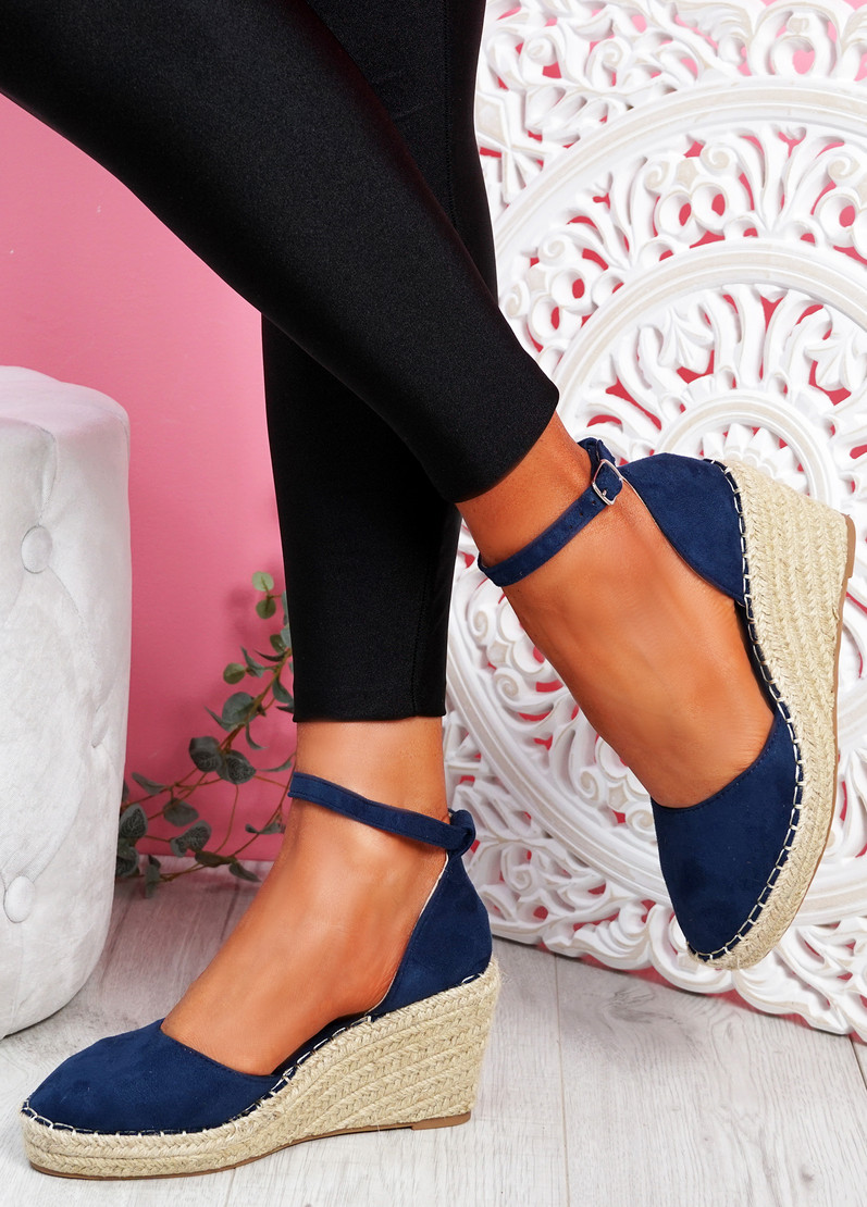 Tifa Dark Blue Wedges Platform Sandals