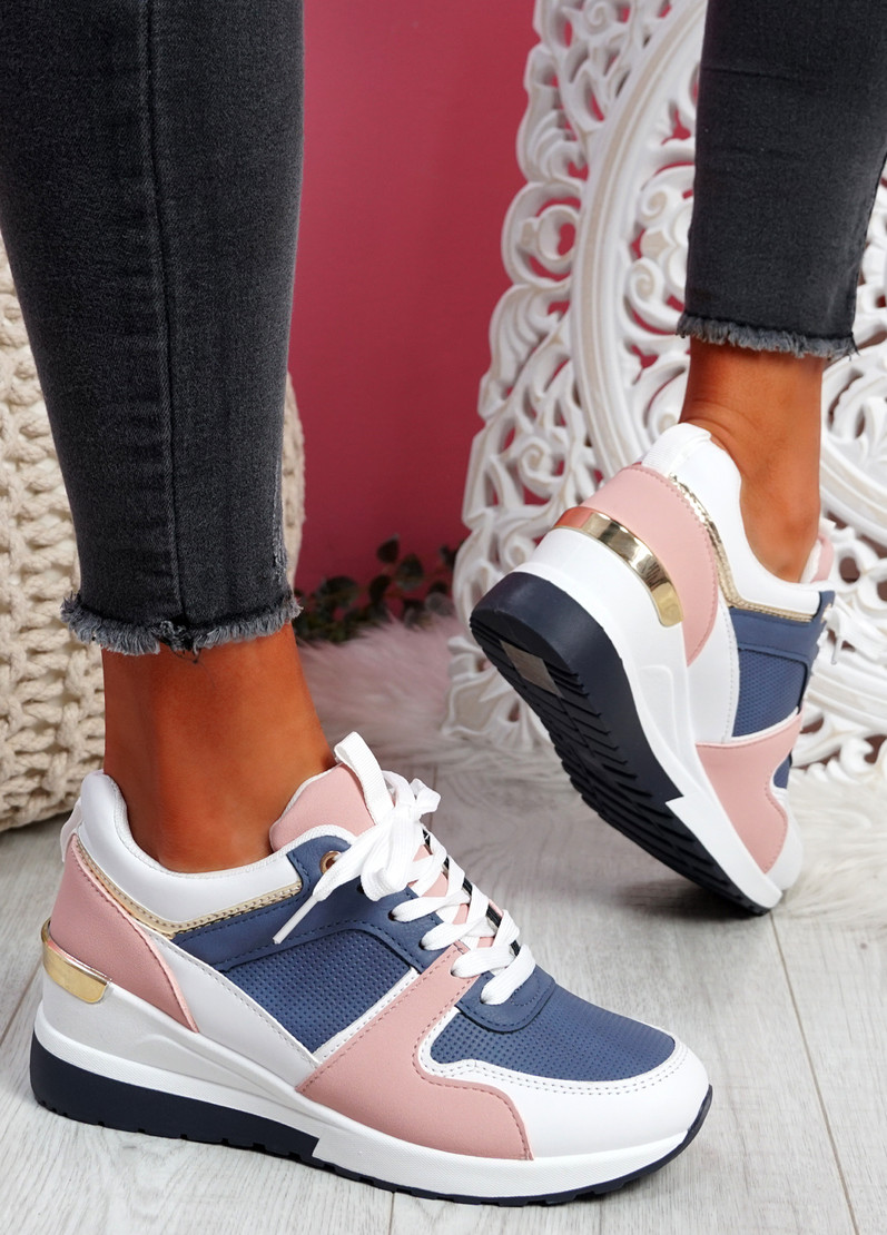 Tonne Navy Wedge Trainers