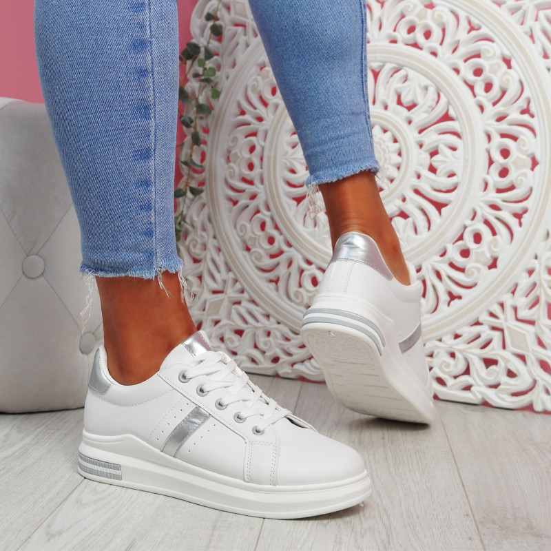 Jomy Silver Lace Up Trainers