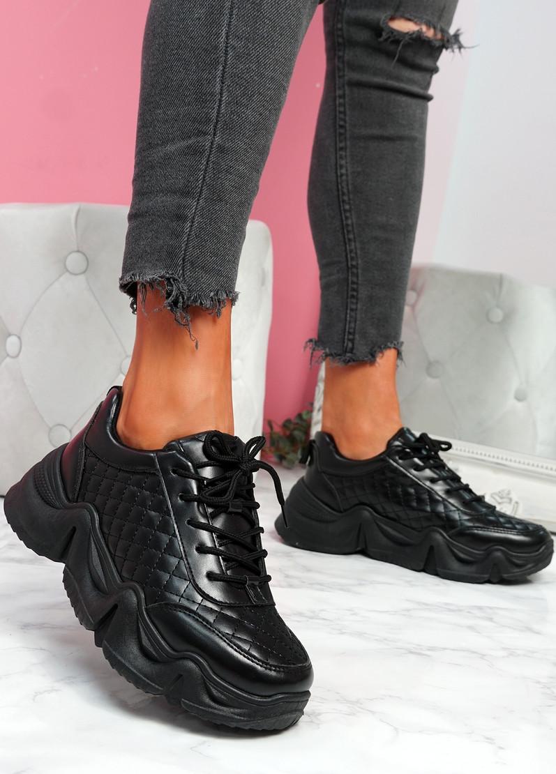 Joze Black Pu Chunky Sneakers