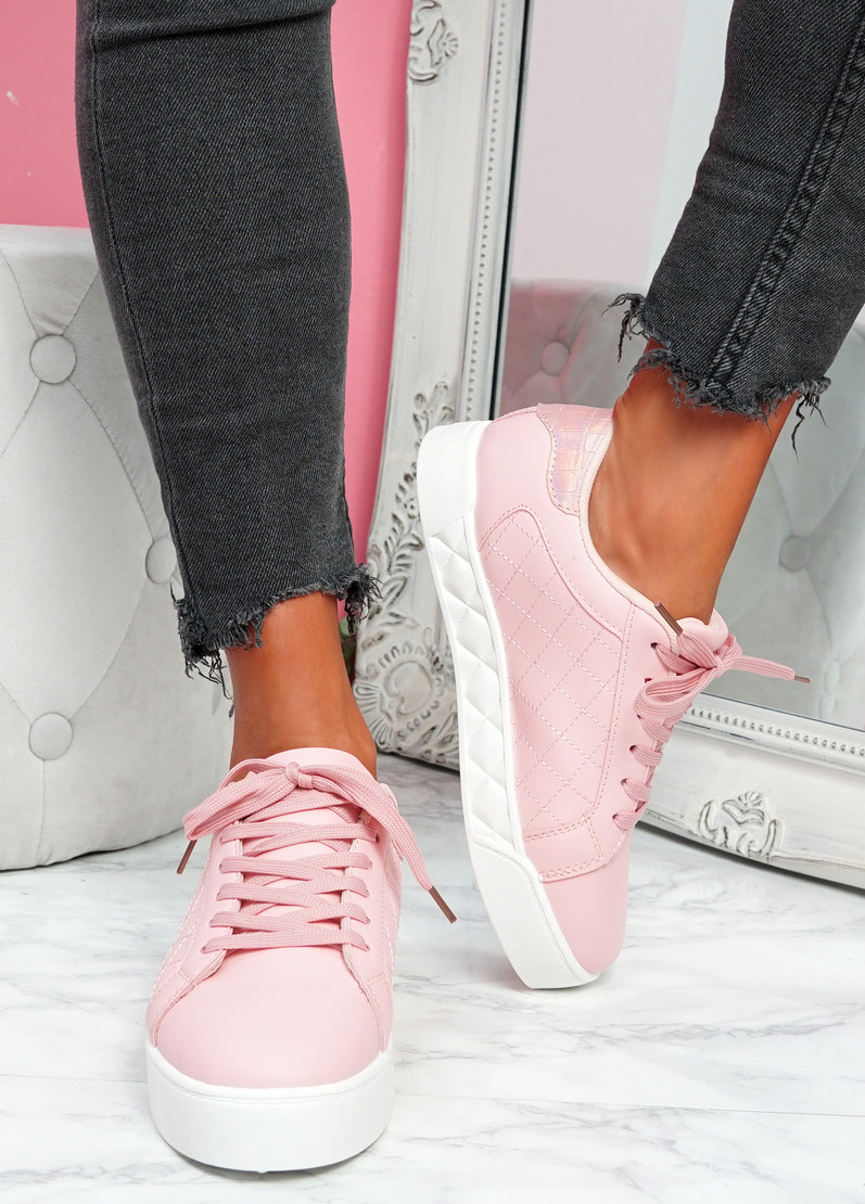 Nonne Pink Platform Trainers