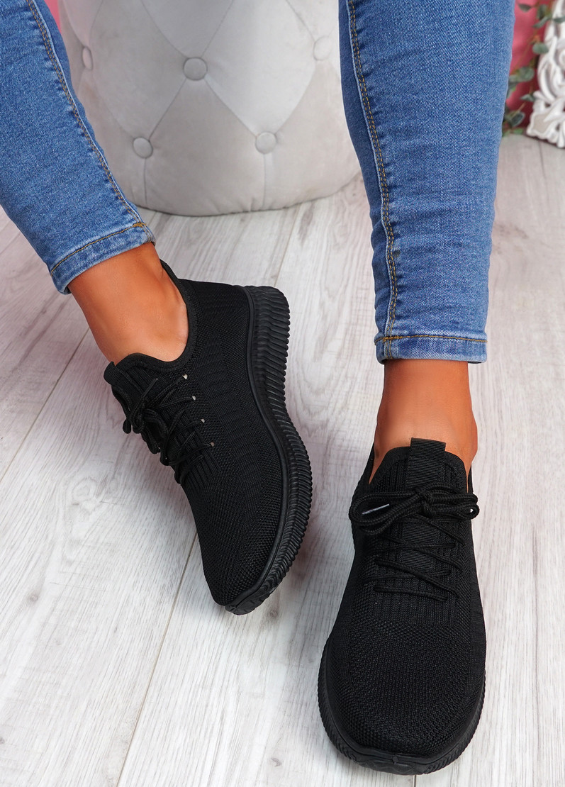 Fovy Black Knit Running Sneakers