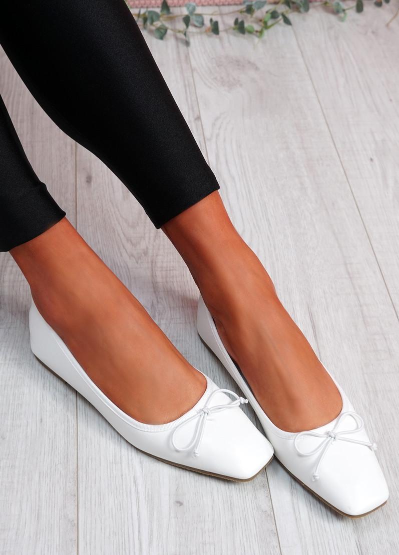 Vonno White Square Toe Ballerinas