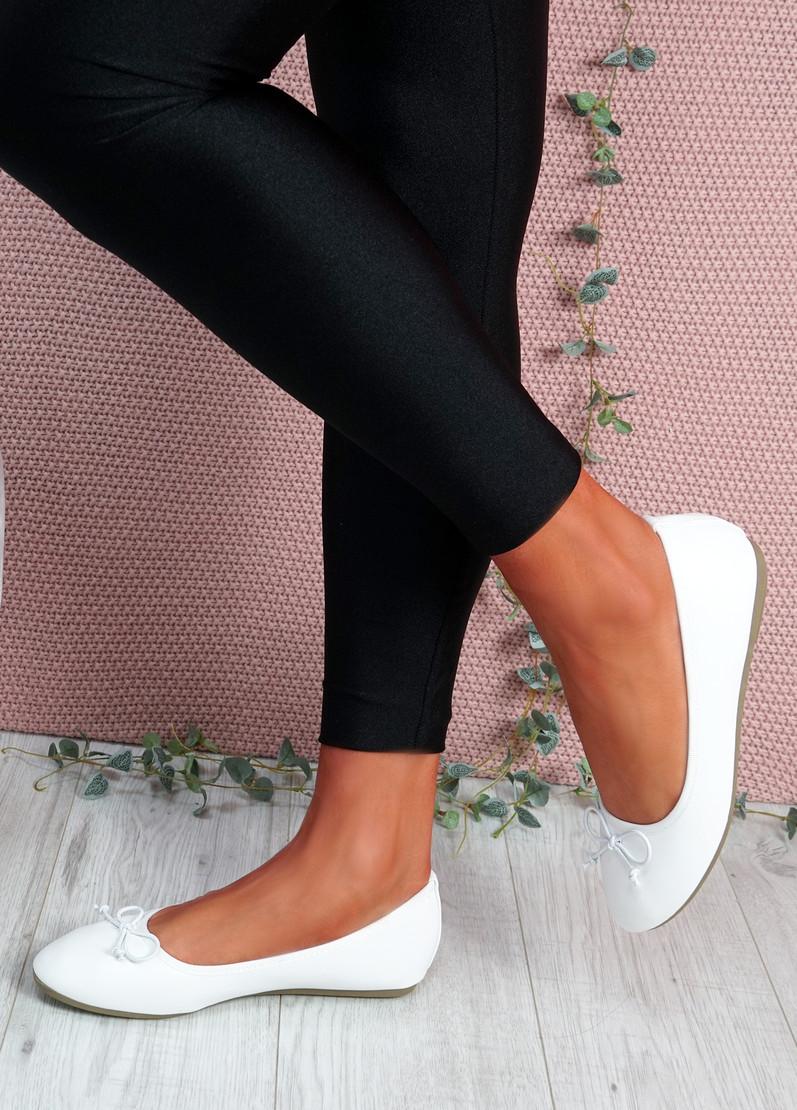 Nimey White Bow Flat Ballerinas