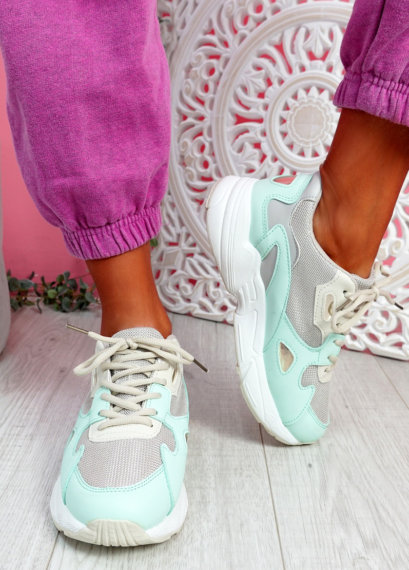 Yusa White Green Chunky Sneakers