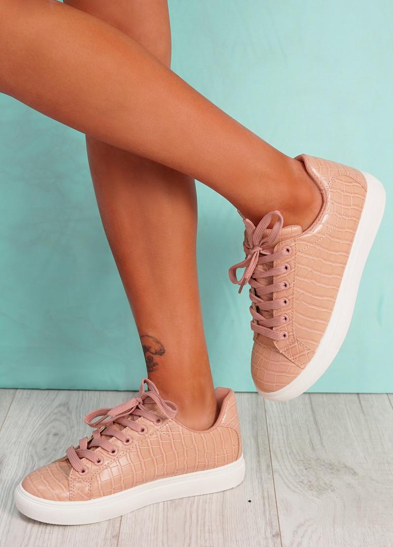 Ronno Pink Croc Pattern Trainers