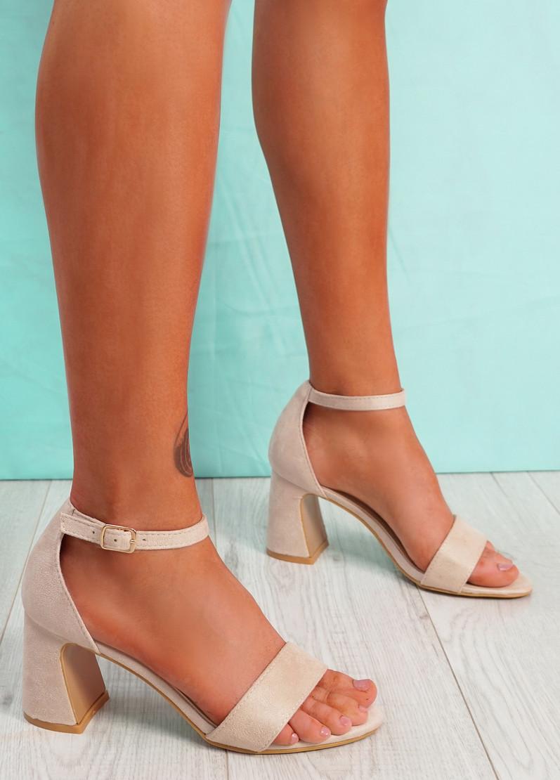 Gimmy Beige Block Heel Sandals