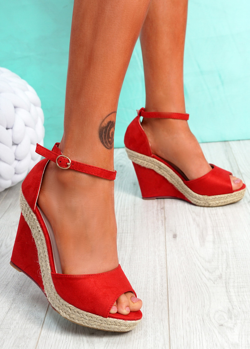 Tany Red Wedge Sandals